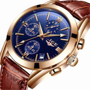 LIGE Men's Watch Leather